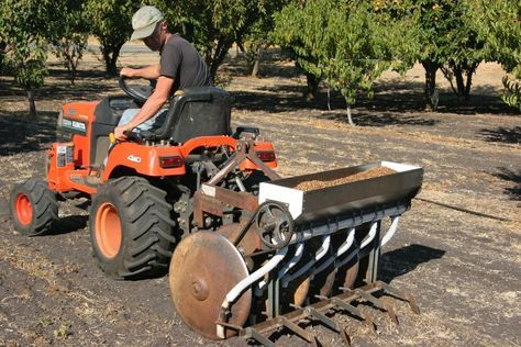 """A home-built no-till seed drill, well illustrated on the FarmHack """"tool wiki"""""""