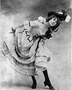 Jane Avril (1868–1943) was a French can-can dancer made famous by Henri de Toulouse-Lautrec through his paintings. Extremely thin, 'given to jerky movements and sudden contortions', she was nicknamed La Mélinite, after an explosive.