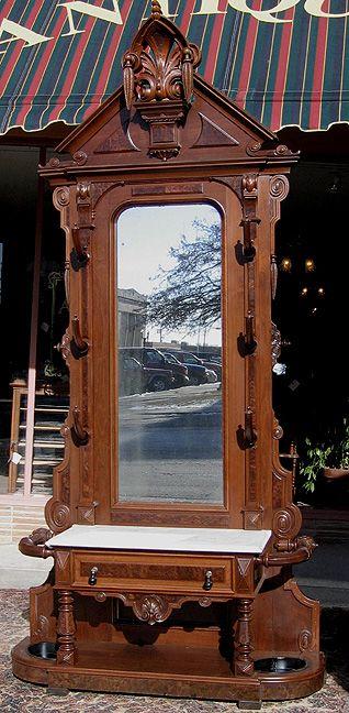 Walnut Victorian Renaissance Revival Hall Tree