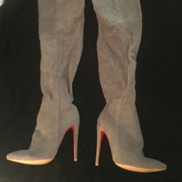 Thigh High Grey Kylie Jenner Boots Never been worn, in great condition. Featured on the Kylie Jenner app. Paid a lot for these, so please no low ball offers! Thanks :) Shoes Heeled Boots