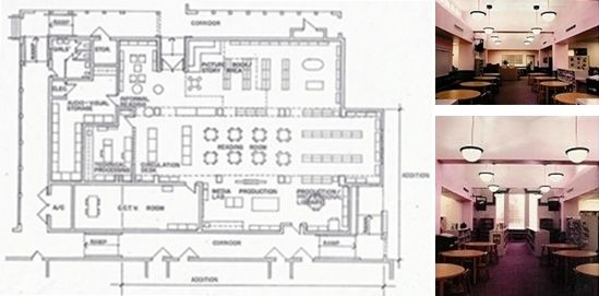 Floor plan and interiors of fisher fienberg elementary for Media center plans
