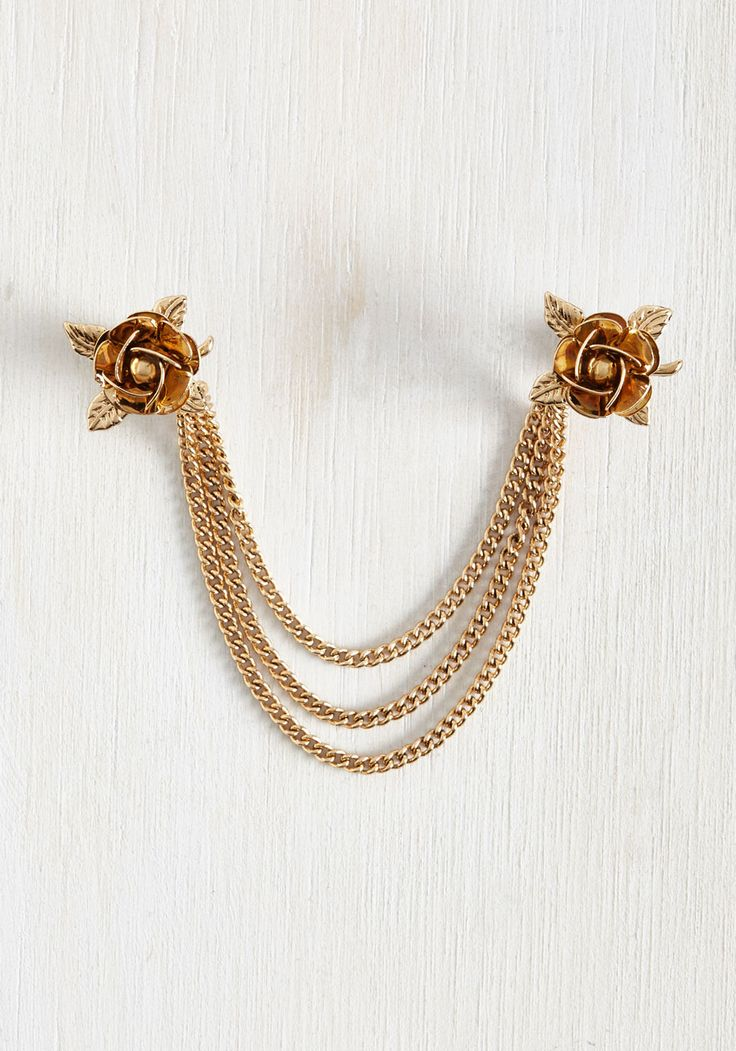 Fleur Often Than Not Collar Pin. With your proclivity for timeless treasures and feminine details, its not any wonder that this antiqued gold collar pin strikes your fancy. #gold #modcloth