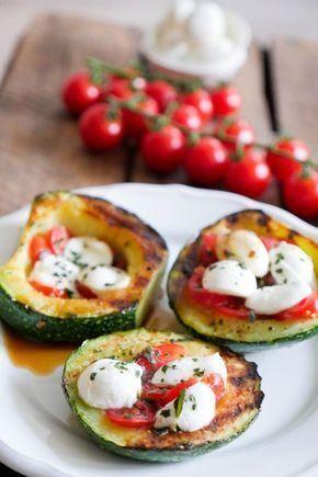 Grilled zucchini tomato mozzarella low carb