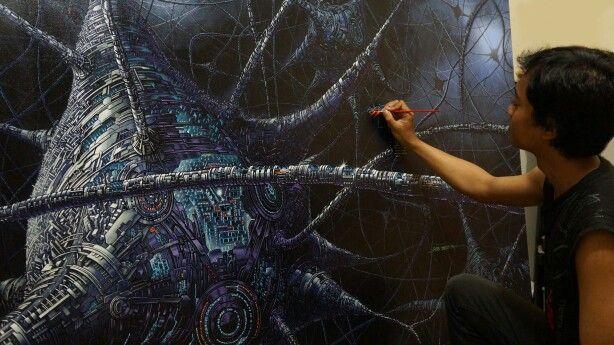 Brain #onprogress #TriWahono #painting #acryliconcanvas #future