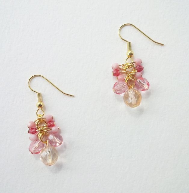 Glasperlen-Ohrringe pink