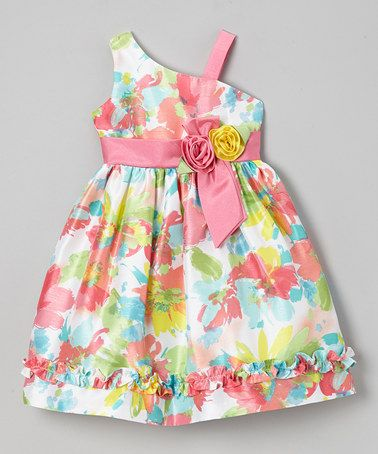 Another great find on #zulily! Pink Neon Floral Ruffle Asymmetrical Dress - Toddler & Girls by Jayne Copeland #zulilyfinds