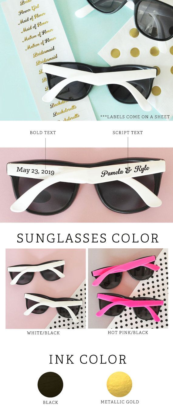 Beach Wedding Favors for your destination wedding guests! These personalized wedding sunglasses are a great idea for a tropical Hawaiian wedding or any destination thats outdoors - if your ceremony is outdoors place a set of sunglasses on each chair to shade guests from the sun - each black pair of sunglasses with white handles or hot pink handles comes with personalized CLEAR labels printed with either black text or metallic gold text - labels are provided for both sides so for a set of 24…