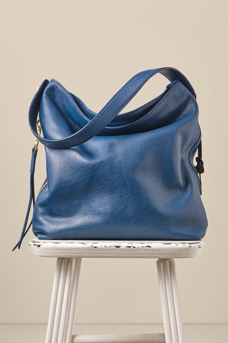 Pretty in blue: the Maya leather hobo handbag.