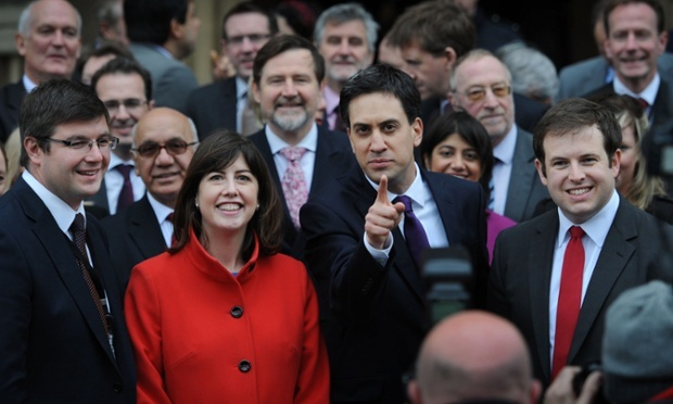 Ed Miliband again, this time welcoming newly elected members of parliament to the House of Commons: MP for Corby, Andy Sawford (left), MP for Manchester Central, Lucy Powell (second left) and MP for Cardiff South and Penarth, Stephen Doughty (right), who won their seats in byelections last week