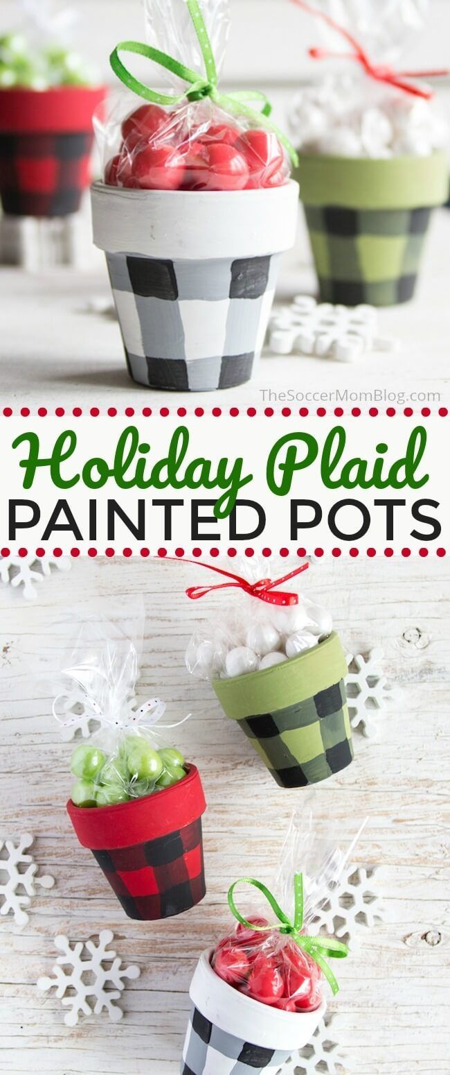 Buffalo check painted pots with video tutorial craft ideas