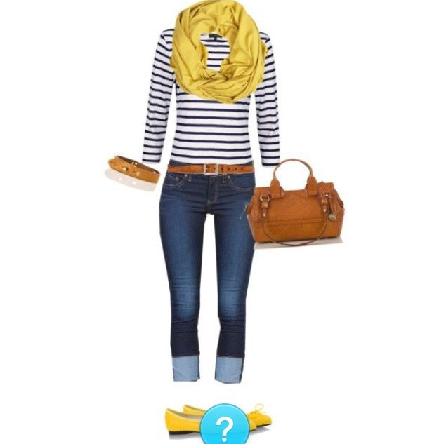 Blue and white striped shirt with yellow scarf or cardigan