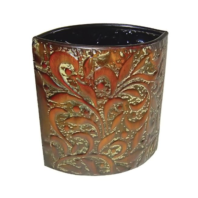 Cheungs Indoor Outdoor Patio Gardening 11 inch Tall Almond Shaped Metal Decorative Planter *** Learn more by visiting the image link.