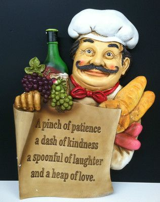Italian French Fat Chef Statue Bon Appetit Decorative Wall Plaque Kitchen  Decor
