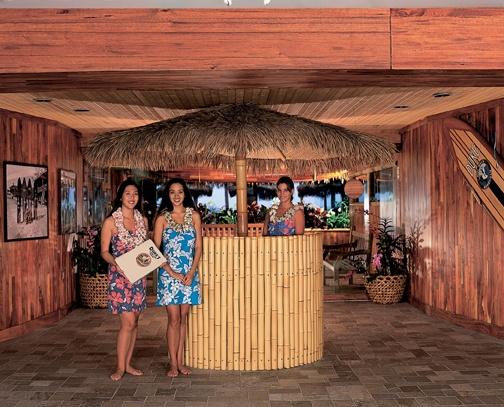 Entrance into Duke's restaurant in Waikiki Beach, Oahu, Hawaii.