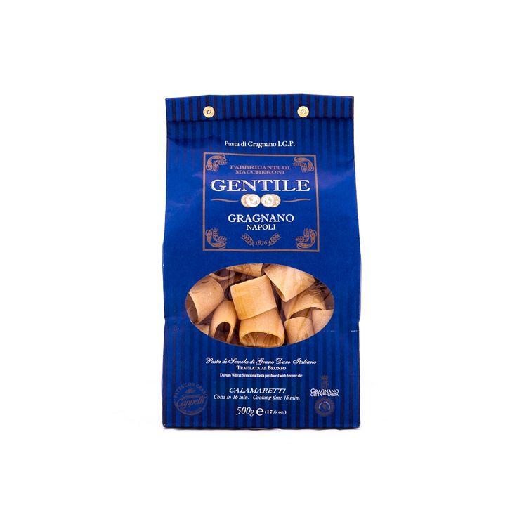 """#Calamaretti di #Gragnano IGP #Gentile. Sono realizzati a partire da pregiata semola di grano duro 100% italiano della varietà """"Senatore Cappelli"""" e """"Saragolla"""" e, come tutta la #pasta di Gragnano IGP del Pastificio #Gentile, vengono fatti essiccare lentamente e a bassa temperatura secondo il metodo """"Cirillo"""", che lascia intatti aromi e sapori originari del grano."""