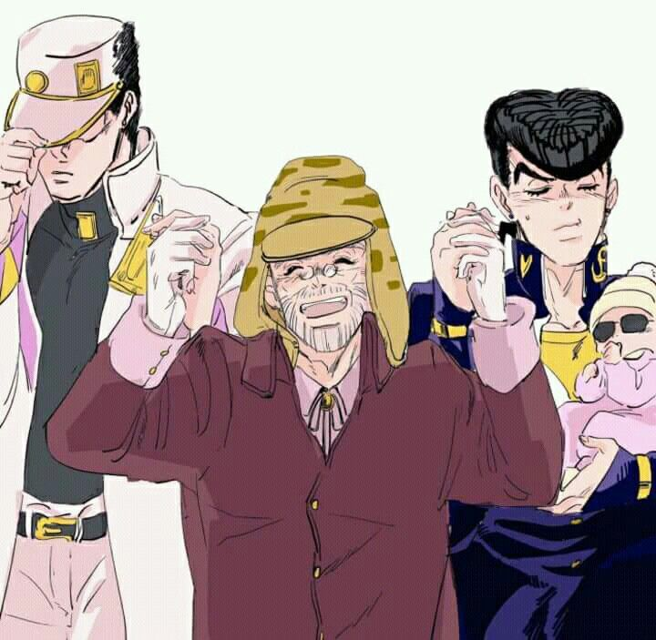 Happy Old Joseph With His 16 Year Old Son And His 28 Year Old Grandson And His Adopted Invisible Daughter Jojo Bizzare Adventure Jojo Bizarre Jojo Memes
