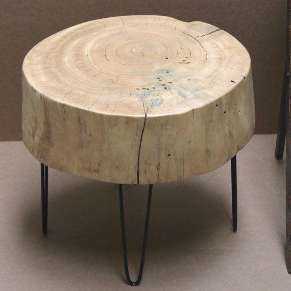 Tree Stump Table Slice Hairpin Legs Blonde Wood by