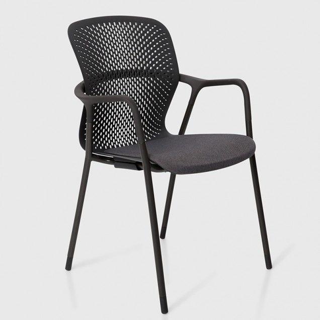Keyn 4-Leg Chair with Black Base and Cinder Fabric