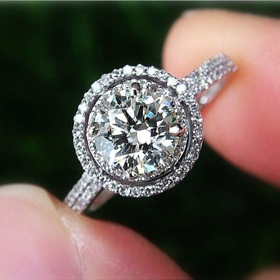 Gia certified 1.2ct 18k round diamond double halo engagement ring vintage style