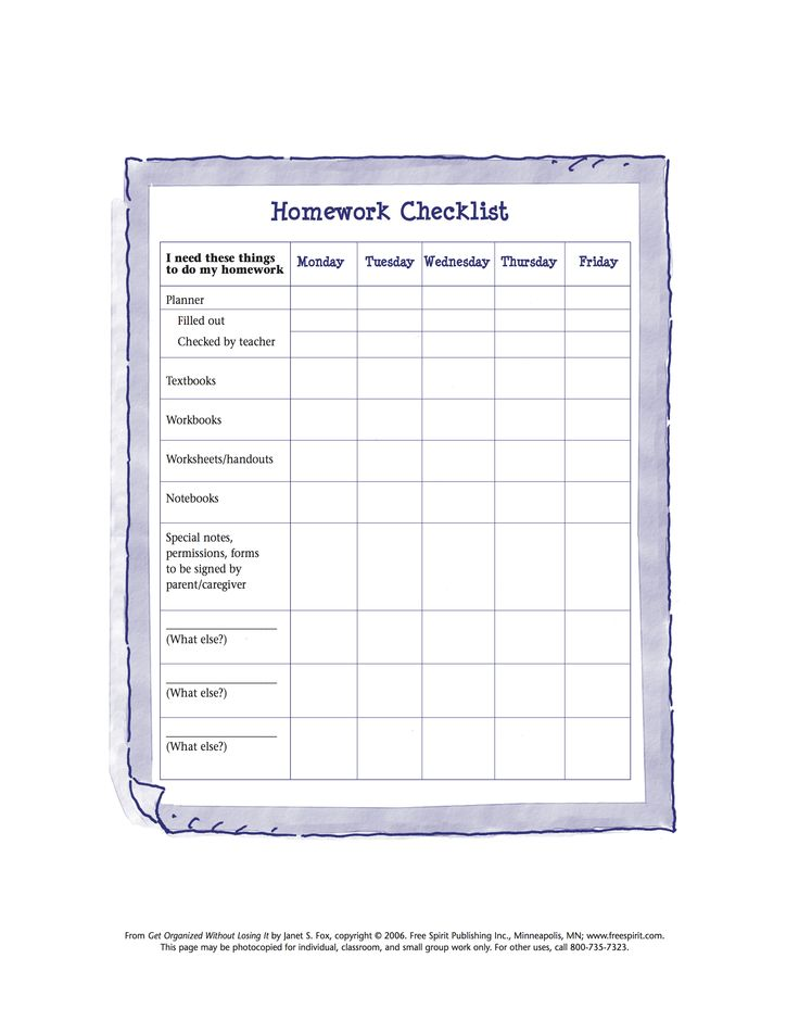 Printable Behavior Checklist