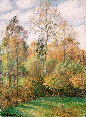 """Camille Pissarro (1830-1903) ~ """"Automne, Peupliers, Eragny"""" ~ huile sur Toile 1894"""