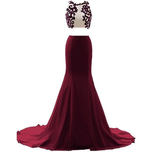 JAEDEN Appliqued Two Piece Evening Dresses Long Sexy Mermaid Prom... ($117) ❤ liked on Polyvore featuring dresses, gowns, long gown, long homecoming dresses, prom gowns, 2 piece homecoming dresses and sexy party dresses