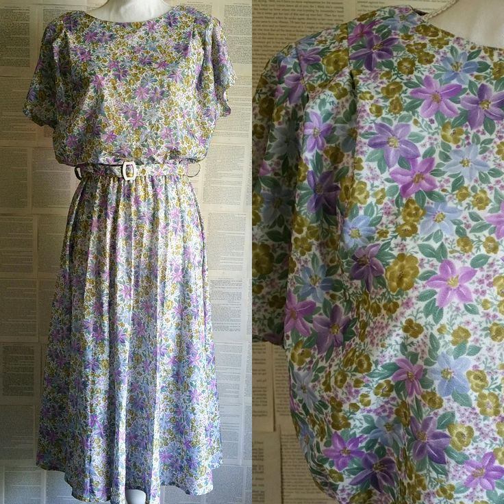 Vintage 1970s-1980s Floral Dress - Size 12 by MyVintageSundays on Etsy