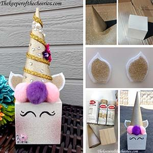 Unicorn Centerpiece Idea Materials: Wood block Cardboard Cone Glitter Blast Spray White Primer Paint Black Sharpie Hot Glue and Glue gun Pom Poms White Felt Scissors Misc. Embellishments Ribbon Directions Spray or paint white primer on your wood block and cone Spray Glitter Spray on your cone, block and spray gold glitter on a small section of your white felt Cut out 2 desired ears for your unicorn out of white felt, cut 2 more smaller pieces out of gold sprayed piece, glue your white and…