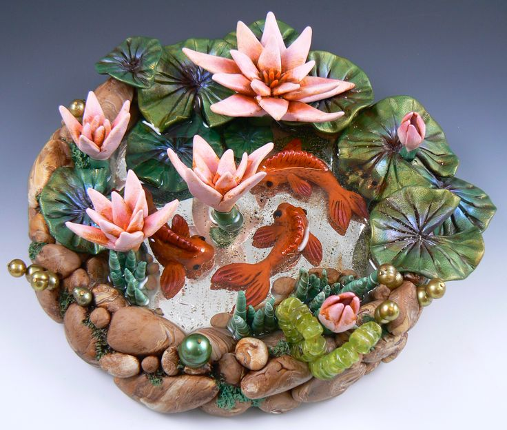 Christi friesen lily pond polymer and resin polymer for Clay fish pond