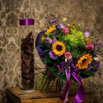 Bukiet okolicznościowy urodzinowy słonecznik fiolet