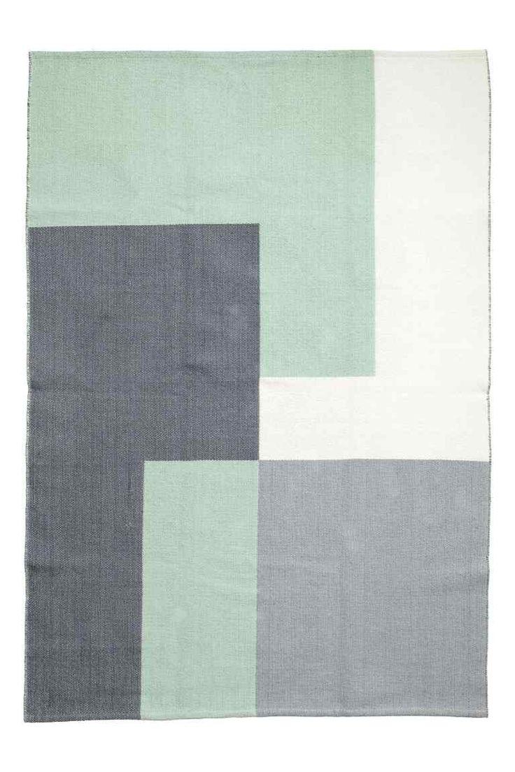 Tapis en coton tissé jacquard - Vert menthe/gris - Home All | H&M FR 1