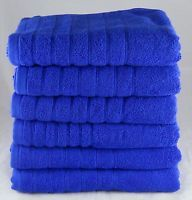 Royal Blue Hand Towels Egyptian Cotton 525 GSM Pack of 6