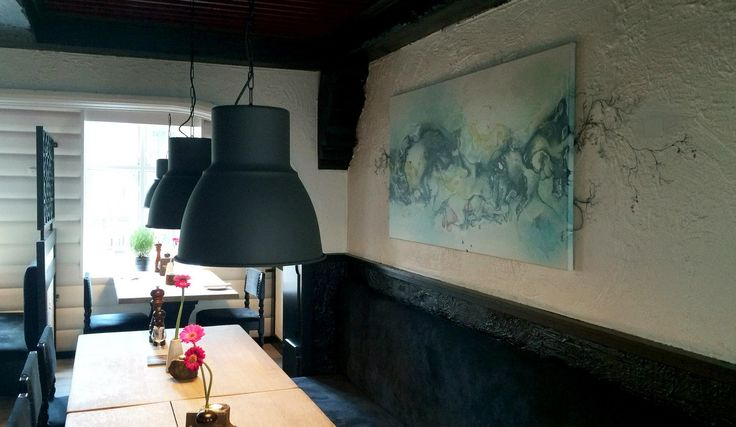 Restaurant art project in Denmark. Abstract art by artist Rikke Darling. #contemporaryart #art #restaurant #denmark #abstract #rikkedarling #darling #artist #company #interiordesign #interior #design #artwork #painting #paintings #abstractart #modernart #fineart #darling