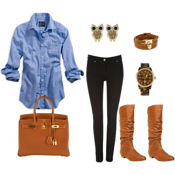 Fall Clothing, Fashion, Style, Casual Fall, Denim Shirts, Owl Earrings, Fall Outfit, Owls Earrings, Dreams Closets