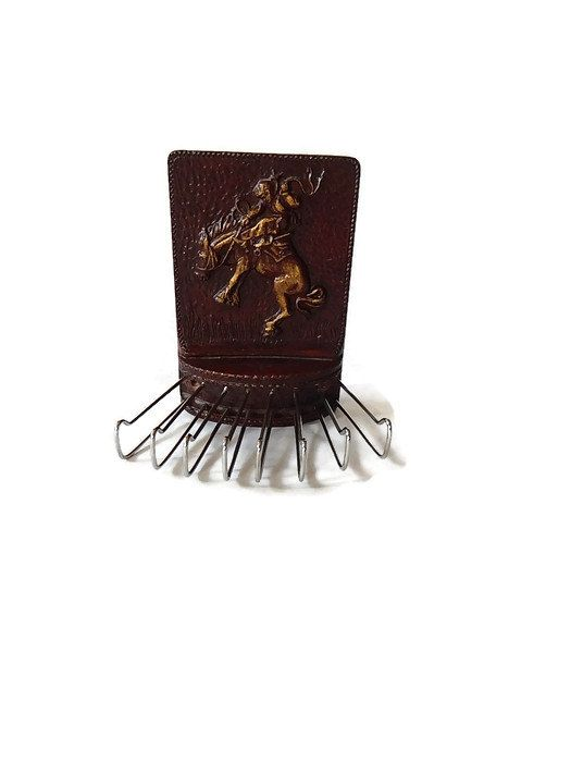 Tie Rack Bucking Bronco Vintage Tie Rack Featuring Rodeo Bronco Rider Vintage Syroco Wood Tie Rack Gifts for Him Tie Closet Organizer by LeasAtticSpace on Etsy