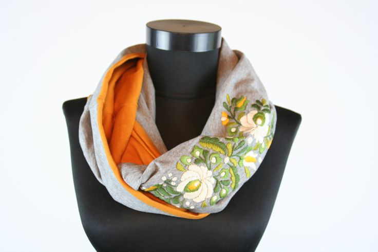Woman infinity scarf - circle scarf - loop scarf -  hand embroidered - matyo - multicolored - orange grey green beige - made to order by MatyoKid on Etsy