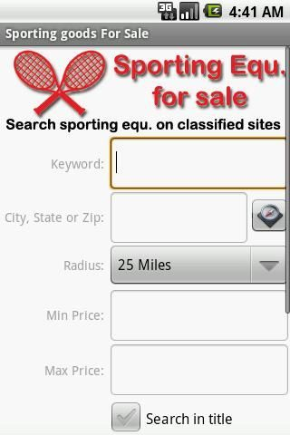 Search all the best websites for amazing deals on sporting goods, sporting supplies, and sporting equipment.<p>Stop paying retail price for sporting equipment.  Whether you are a soccer player yourself, the organizer of a youth baseball league, or a parent who can't afford brand new football cleats, put Sporting Goods for Sale to work for you!<p>Search all the best classified sites and online marketplaces at once.  We bring the best deals to you.  Looking for soccer cleats?  Search eBay…