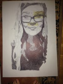 Self Portait. Black Biro on A1 Cartridge Paper with Masking Tape - Chelsie Cater-Tooby