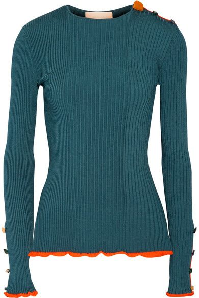 Roksanda - Rhea Embellished Ribbed Stretch-knit Sweater - Petrol