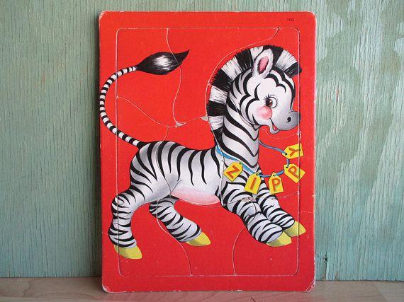 Vintage Zebra Puzzle 9 Piece Tray Frame Jigsaw Puzzle