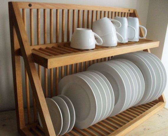 RESERVED FOR A.Oak Plate Rack Vintage Wooden Plate Storage Wall Mounted Rack Traditional Kitchen & 95 best Kitchen Plate rack wall mount images on Pinterest | Dish ...