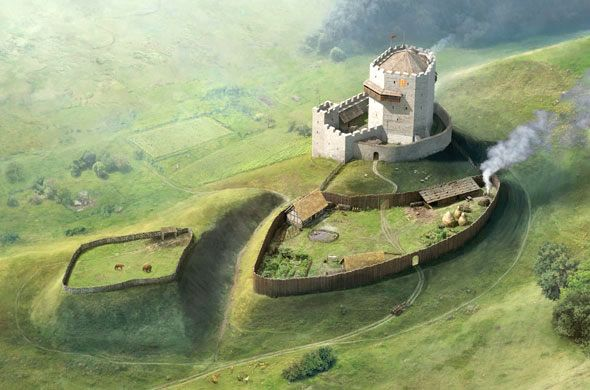 Reconstruction of the castle Buchegg with the extensive Vorburg by Joe Rohrer, 2013