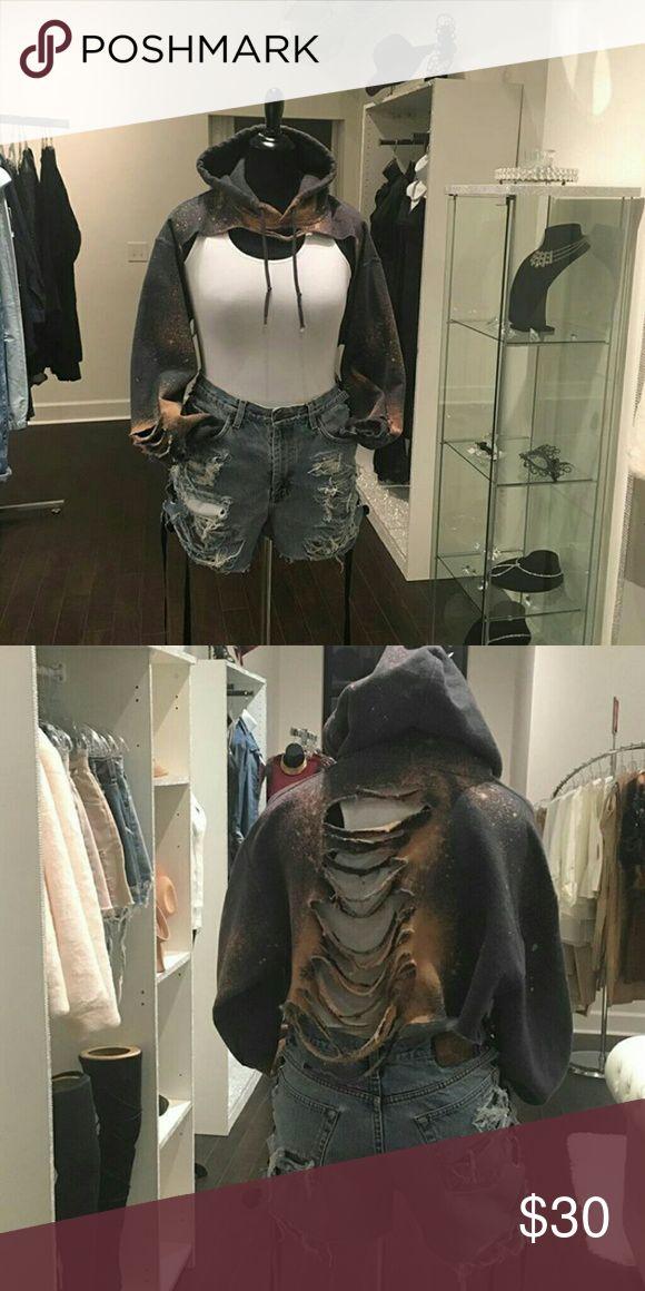 $30 Custom Made Hoodie Karrueche Inspired *** IG: My_vintage_ways   -Custom Ripped and Bleached Hoodie  -DM me for colors and size u need LF Inspired  Tops Sweatshirts & Hoodies