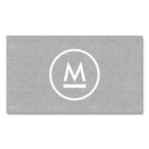 Big Initial Modern Monogram on Gray Linen Professional Business Card Template - personalize the front and back with your own info. Great for any profession - attorneys, lawyers, accountants, construction, real estate, realtors and more.