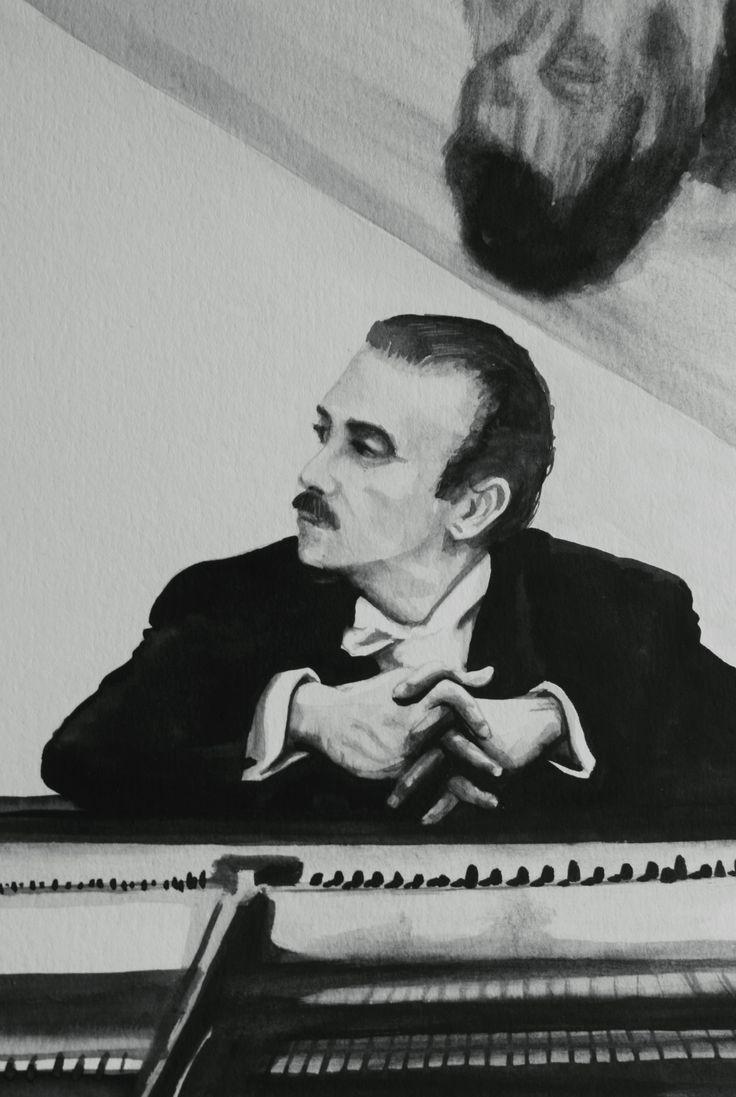 Claudio Arrau- Chilean pianist (watercolor by Francisco sad)
