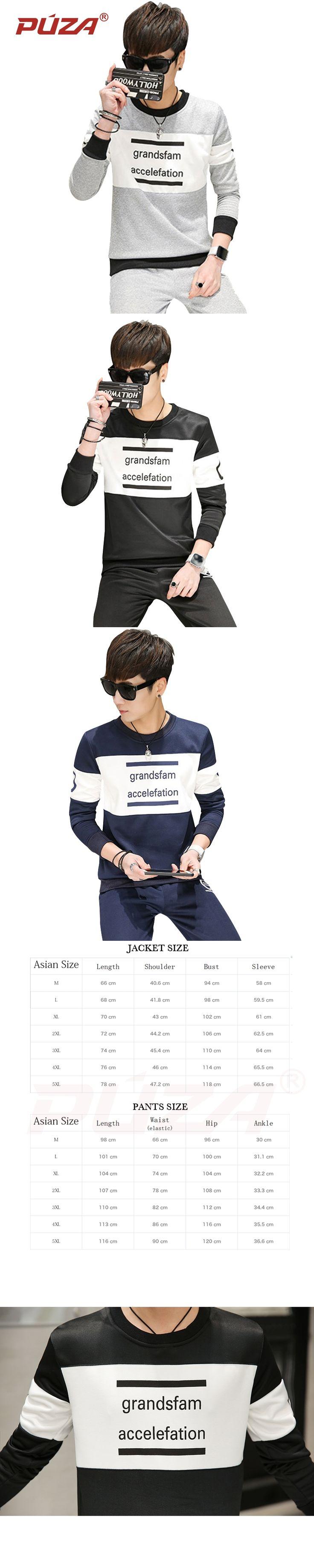 PUZA Brand Casual Men's Sportswear Set O-neck 2 Pieces Set Sweatshirts Set Men's Suits Mens Design Tracksuit Sets Plus Size 5XL
