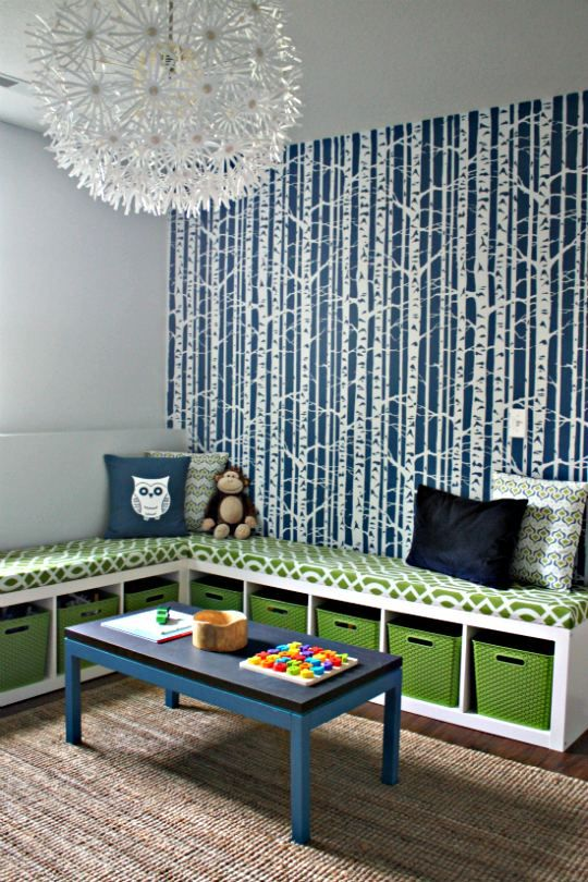 Corner bench, ikea shelves - this is exactly what I had pictured in my mind! Once the kids are done with it as a play room the wall decal will be perfect for the dinning room :)