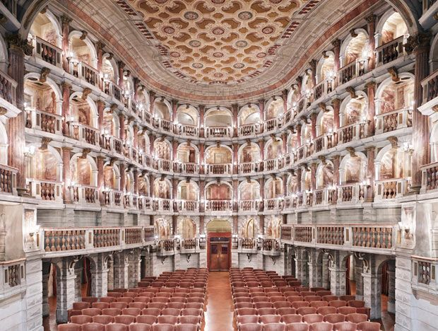 Teatro Scientifco Bibiena Mantova, in Mantua, Northern Italy. Mozart played there at age 13. Photograph by Candida Höfer.