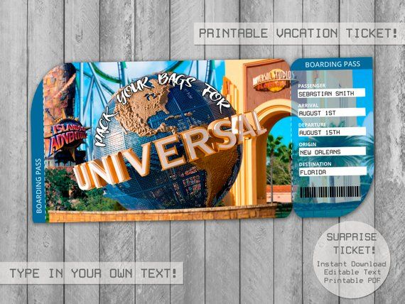 Surprise Universal Studios Trip Ticket Editable File Boarding Pass Vacation Tickets Envelope Gift Universal Studios Tickets Universal Studios Travel Gifts