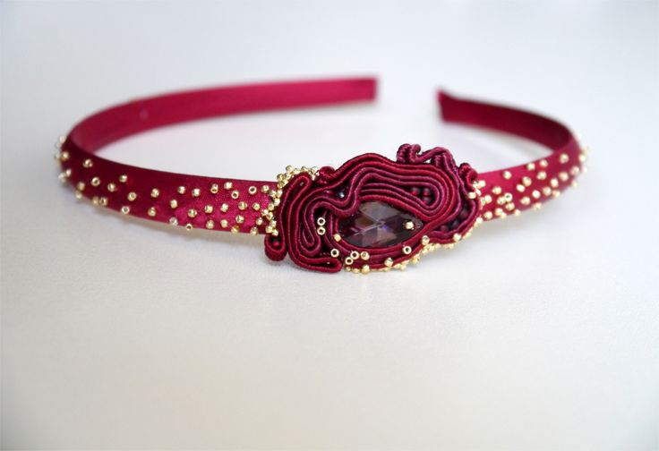 Only on pl.dawanda.com/... #soutache #headband #swarovski #marsala #satin #ornament #wonderfull